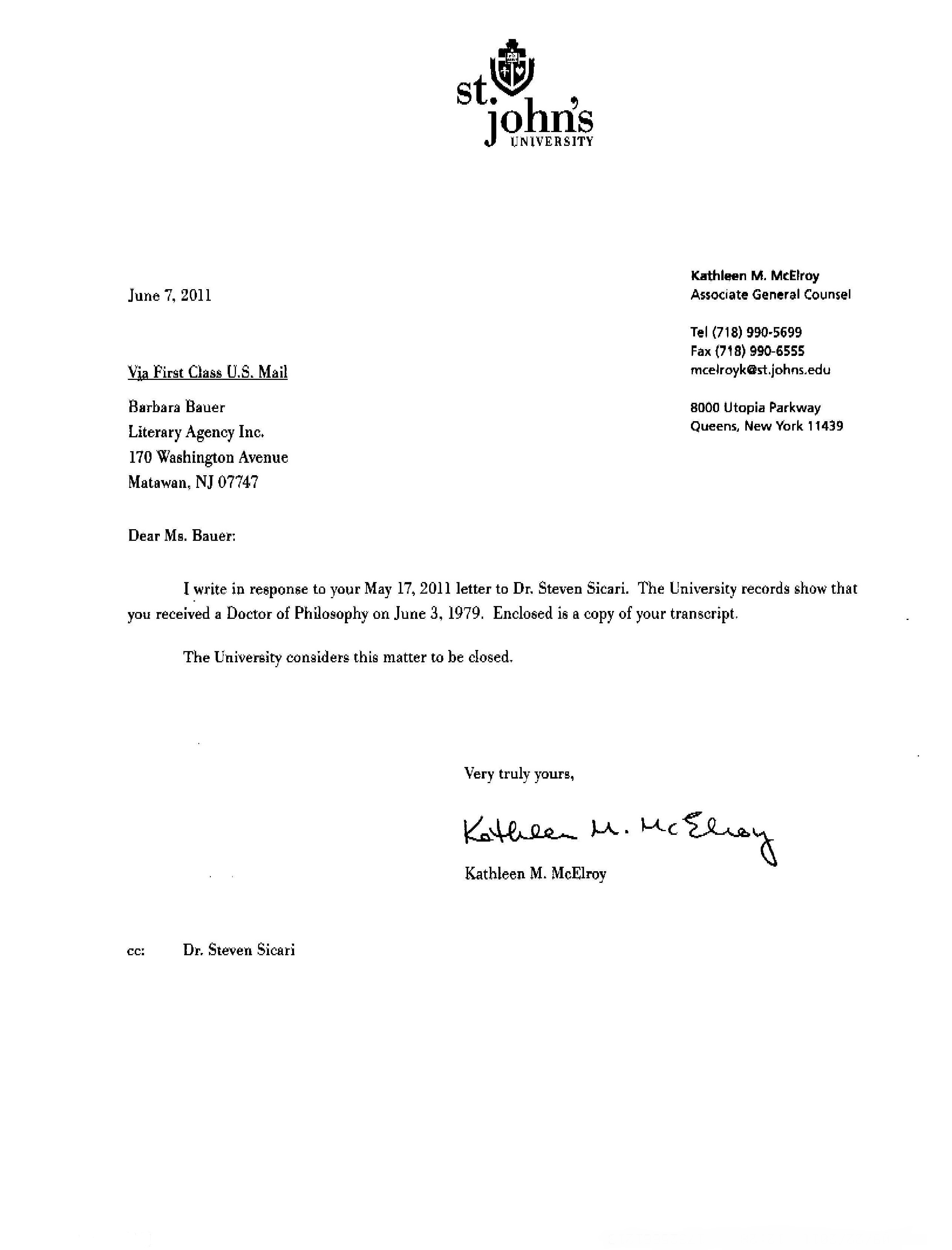Bauer vs glatzer letter from st johns university regarding for expocarfo